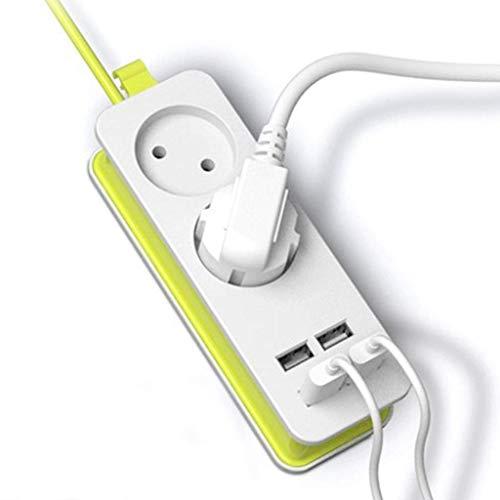AYDQC Arrastre Línea Tablón Power Strip 2 Enchufe de CA Adaptador de Viaje 1200W Múltiple portátil 4 Puerto USB Toma de Cargador 1.5m para tabletas Smartphones fengong