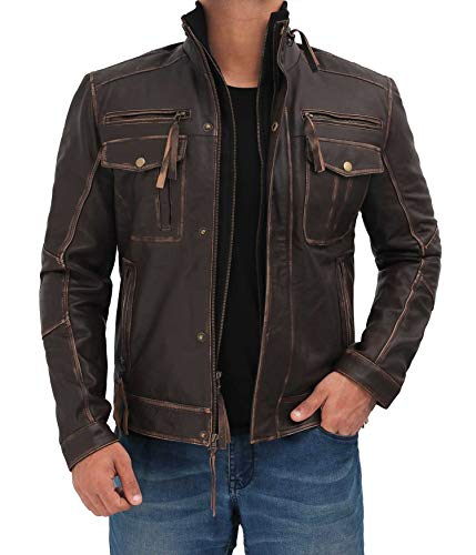 fjackets Real Mens Leather Jacket - Moto Distressed Brown Lambskin Real Leather Motorcycle Jacket Men | [1100205] Moffit Ruboff XL
