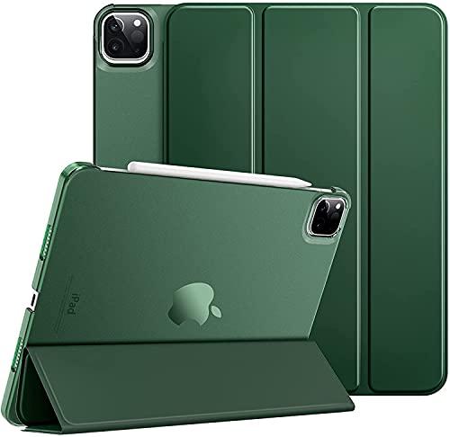 ProElite Smart Case Cover for Apple iPad Pro 11 inch 2021 3rd Gen [Auto Sleep/Wake ], Translucent & Hard Back, Dark Green