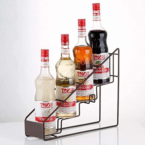 wikkeny Estante de Vino Free Standing Bottle Rack Acero Inoxidable Encimera Encimera de Vino Titular de la Botella Pantalla Paso Paso Estante Almacenamiento Organizador para Home Shop Bar Brown-Negro