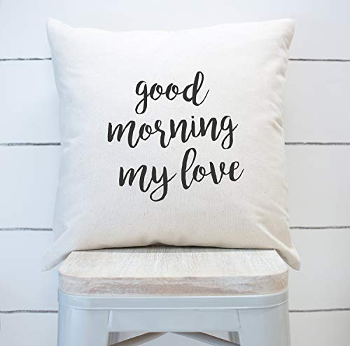 Sp567encer Farmhouse Funda de Almohada Good Morning My Love Home Decor Funda de Almohada