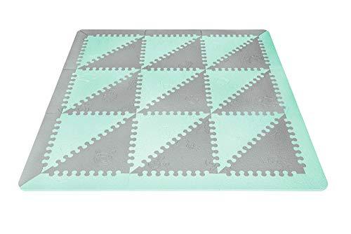 LuBabymats - Alfombra puzzle infantil para bebés de Foam (EVA), suelo extra acolchado para niños, color Mint y Gris