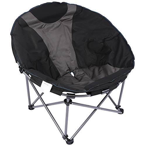 Varbucamp Folding Camping Moon Chair, Sturdy Oversized Portable Padded Folding Round Chair for Outside Camping, Black