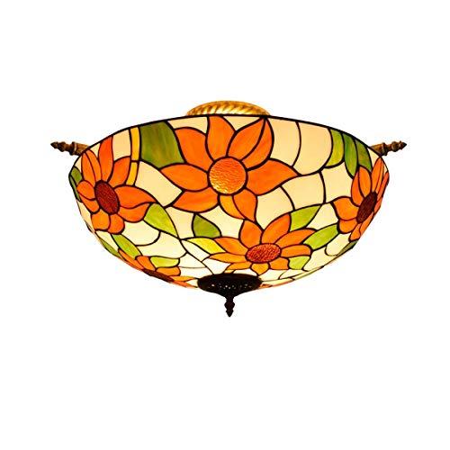 IGOSAIT Lámpara de techo, Tiffany Estilo 55CM Creativo Sol Flor Tiffany Vidrieras Sala Comedor Bar Dormitorio Arte Semi-Techo Lámpara Tiffany Estilo Lámparas de Techo
