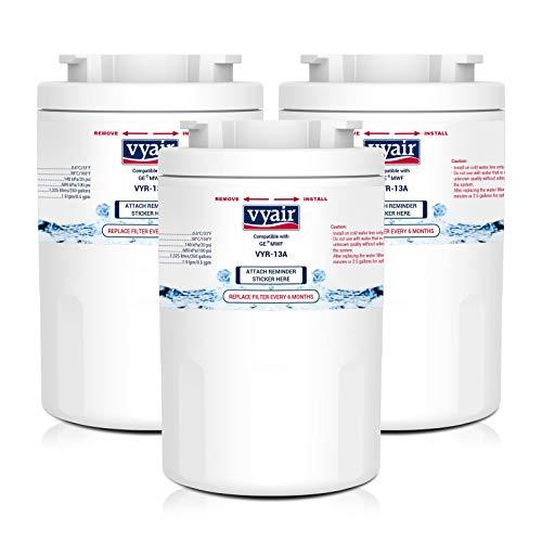 Vyair VYR-13A Reemplazo cartucho filtro de agua de la nevera para General Electric GE SmartWater MWF, MWFA, MWFP, GWF, GWFA, GWF01; Hotpoint HWF, HWFA, MWF, MWFA; Sears/Kenmore 9991, 469991 (3)