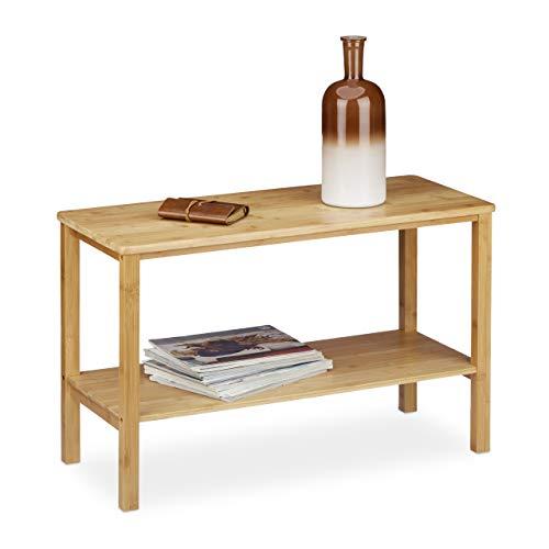 Relaxdays Mesa para el sofá Rustico, Hecho de bambú, 50 x 80 x 34 cm, Rectangular, Plano, 2 Niveles, Espacio de almace, Brown