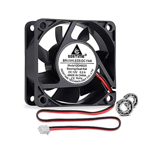 GDSTIME Ventilador de refrigeración de 60 mm DC 12 V carcasa enfriador de ventilador de doble rodamiento de bolas, carcasa de PC sin escobillas para PC 60 x 25 mm