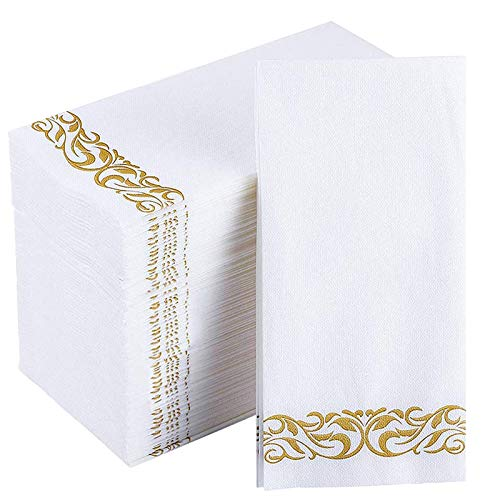 JOLLY CHEF 100 Disposable Hand Towels , Soft and Absorbent Line-Feel Dinner Napkin, Elegant Decorative Paper Guest Towels for Kitchen, Bathroom,Weddings,Parties, Gold and White
