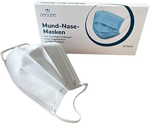 DECADE® 10 weiße Einweg Gesichtsschutz Masken Schutz 3 lagig Atemmaske Weiß White