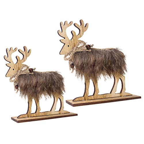 Amosfun 2 Stücke Holz Rentier Figur Elch Hirsch Figur Statue Weihnachten Dekofigur Tierfigur Weihnachtsfigur Xmas Deko Büro Tischdeko Weihnachtsdeko Weihnachtsschmuck