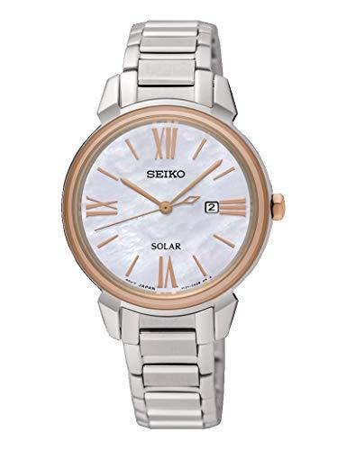 Seiko Solar Womens Analoog Automatisch Horloge met RVS Armband SUT326P1