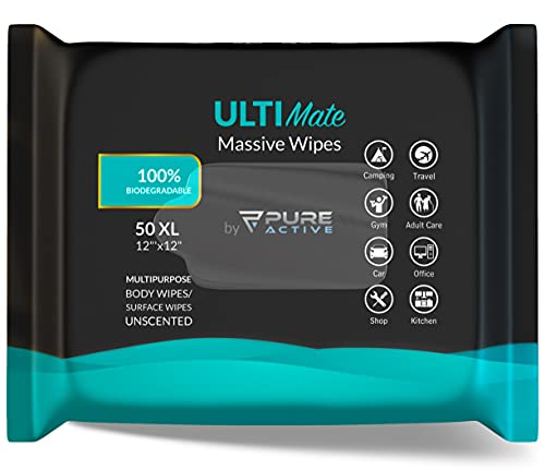 Pure Active Ultimate Multipurpose Shower Body Wipes 50, 12''x12'' Biodegradable Personal Hygiene Body Cleansing Wipes for Women and Men for After Gym Travel Camping Adult Bathing Wipes Unscented