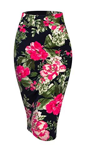 Made By Johnny MBJ WB2121 Women's Elastic Waist Stretch Bodycon Midi Pencil Skirt XXL Navy_Fucshia