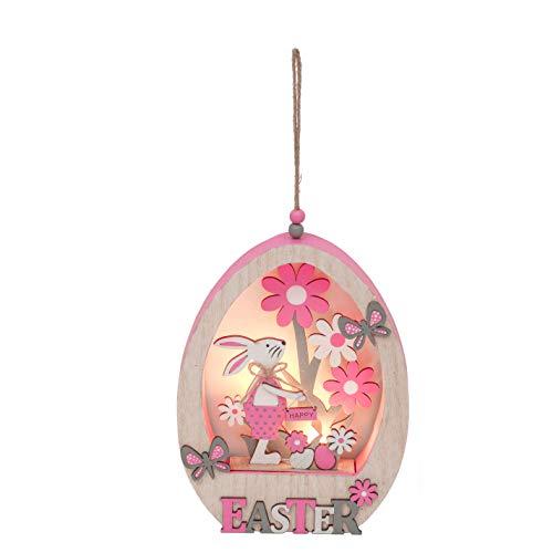 Valery Madelyn Osterdeko Holz Ei mit LED 22cm Osterhasen Figuren im Osterneier mit Ostergruß Frohe Ostern und Schmetterling Frühlingsdeko für Tisch Fensterdekoration Rosa Grau