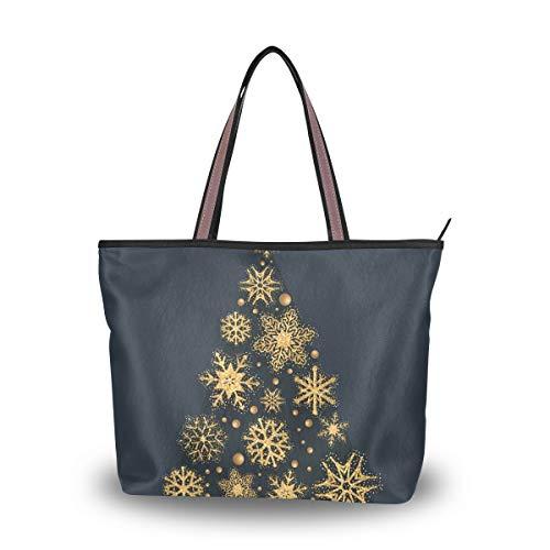 Handtasche für Damen, modische Geldbörse, lässige Tasche, große Kapazität für Outdoor, Einkaufen, Arbeit, Schule, Reisen, Business, Weihnachtsbaum, Mehrfarbig - mehrfarbig - Größe: Large