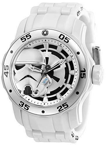 Invicta Star Wars Reloj de cuarzo de acero inoxidable con correa de silicona, blanco, 26 (Modelo: 32515)