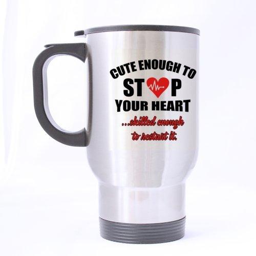Cute Joke dicton Assez mignon pour empêcher votre Cœur Ãâ ¡Ãâ Qualifié de Assez pour Redémarrer IT. Mug de voyage Mug à café thé Mug (Sliver/396,9 gram/Twin côté Imprimé/personnalisable)