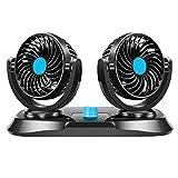 MagiDeal Enchufe del Encendedor del Ventilador de Aire de La Ventilación del Tablero de Instrumentos de Enfriamiento del Coche de La Cabeza Dual Giratoria de 3 - Azul 12v