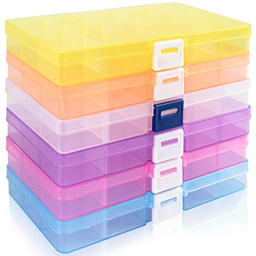 Outuxed 6 Stück Fächer Aufbewahrungsbox Schmuck Aufbewahrungsbox Sortierboxen mit Herausnehmbare Fächern für Ohrringe Perlen und Stifte
