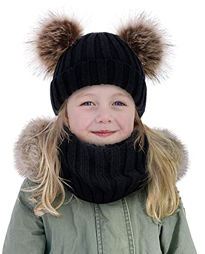 Simplicity Toddler Winter Hat 2-in-1 Beanie Hat Scarf Set for Boys Girls Kids Knitted Fleece Lined Beanie Toddler Beanies for Boys with Neck Warmer, Black