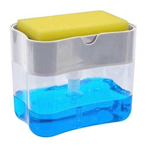 Chic Fantasy Dispensador de jabón para cocina con soporte de esponja 2 en 1 Dispensador de jabón de platos de las más alta calidad Relleno instantáneo – de materiales duraderos y resistentes a la corrosión.