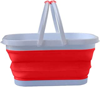 Fine Rectangular Large Capacity Folding Silicone Laundry Bucket Storage Basket,Portable Folding Collapsible Water Bucket for Fishing Home Storage Wash Pail Water Container