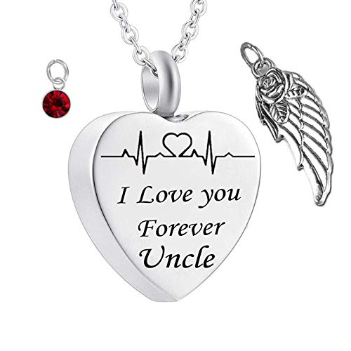 Daesar Stainless Steel Necklaces Men and Women Ashes Necklace Angel Wings ECG Engrave Urn Necklace I Love You Forever Uncle Heart Necklace Birthstones January
