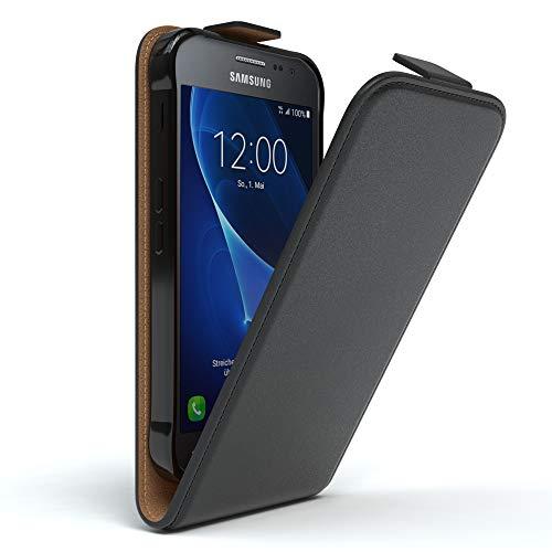 EAZY CASE Hülle kompatibel mit Samsung Galaxy Xcover 3 Hülle Flip Cover zum Aufklappen, Handyhülle aufklappbar, Schutzhülle, Flipcover, Flipcase, Flipstyle Case vertikal klappbar, Kunstleder, Schwarz
