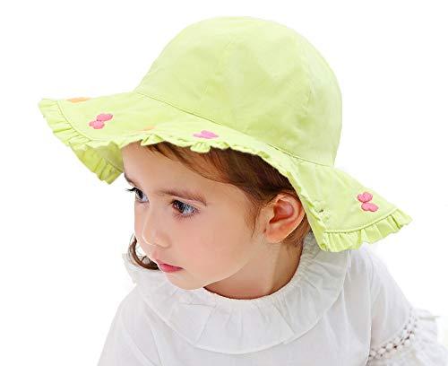 Gifts Treat Chapeau de Soleil d'été de Filles, Chapeau de Seau Pliable Chapeaux de Plage en Coton Doux Chapeau de pêcheur à Larges Bords (Vert Fluorescent, 50CM)