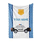 Personalized Custom Police Car Fleece and Sherpa Throw Blanket for Boys, Girls, Kids, Baby - Toddler Police Car Blankets Perfect for Bedtime, Bedding or as Gift (50' x 60' - Child)