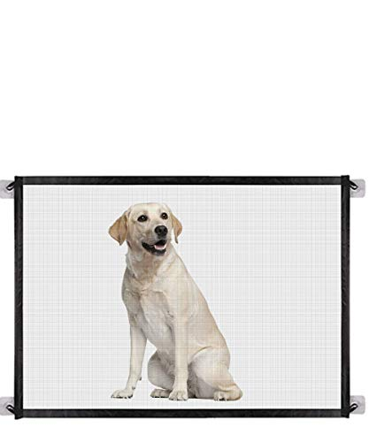 Baby Gate Magic Gate for DogsQueenii Pet Safety Guard Mesh Dog GatePortable Folding Baby Safety Gates Install Anywhere Safety Fence for Hall Doorway Wide 404quot Black