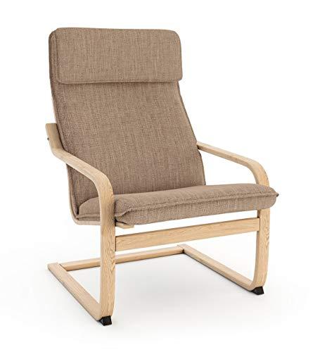 Vinylla Ikea Poäng - Funda de repuesto para sillón (cojín 1, poliéster, color caqui claro)