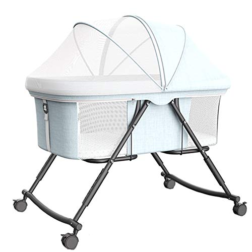 XYSQ Portable Bedside Co Sleeping Crib Infant Bassinet Cot Height Adjustable Mesh Sides Foldable Lockable W/Wheels,Removable Mosquito Net,with Accessories Nexttome