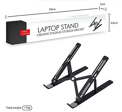 GoRogue Mini Plastic Laptop Stand for Table, Fits Tablet, Notebook, MacBook Upto 13.3 Inch with Adjustable Angle (Black)