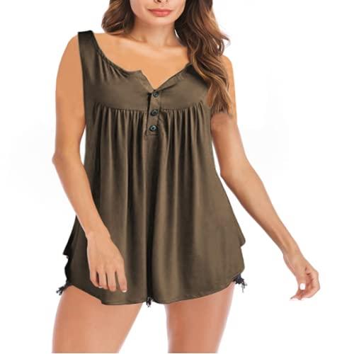 Jersey de Mujer de Moda Superior Color Puro Simple Suelto cómodo Costura Tendencia básica Casual Camiseta sin Mangas S