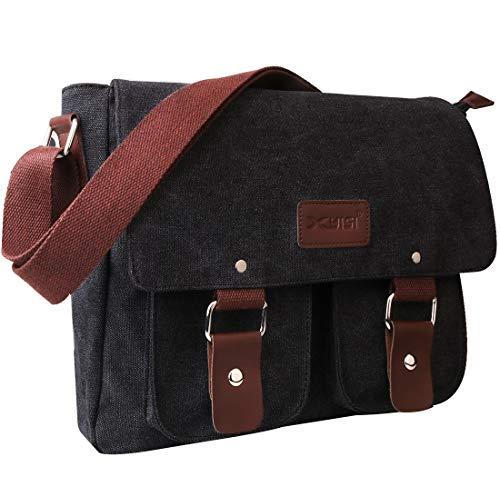Laptop Messenger Bag, Gadom Retro Shoulder Bag 15.6 Inch Computer Satchel Briefcase with Multi Pockets Canvas Adjustable Crossbody Bag for Men Women