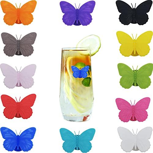 Segnabicchiere, CTRICALVER Marcatori Per Bicchieri Vino Silicone Marcatori Segnabicchier Farfalla con Ventosa, per Bevande, bicchieri da vino, e divertimento (12 colori*1 pcs)