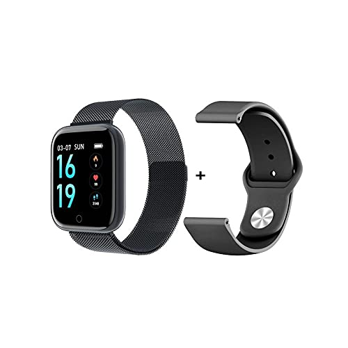 Reloj inteligente resistente al agua, frecuencia cardiaca, fitness, deportivo, pulsera para mujeres, hombres, botón táctil Virtual, soporte iOS y Android, Negro ,
