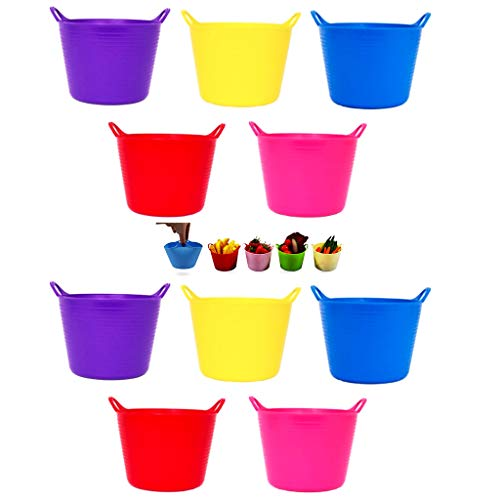 BricoLoco Lote 10 uds. Mini Cubo Flexible Colores Surtidos Goma Multiusos. Organizador pequeñas Cosas, Tornillos, Pinzas, Elementos Costura, Bol Servir tapeos panchitos, pistachos Maceta o sem