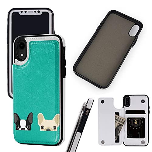Compatible with Apple iPhone XR Case 6.1' Pu Leather Wallet Phone Case Boston Terrier & French Bulldog