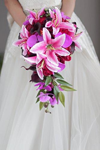 IFFO Rote Rose Lily Bouquet, Wasserfall-Stil, Brautschmuck, Hochzeitsstrauß Hochzeitsstrauß