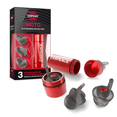EarPeace Motorcycle Ear Plugs – Reusable High Fidelity Moto Ear Plugs for Riding - Hearing Protection for Motorsports, Work & Airplane Noise Reduction (Standard, Red Case)