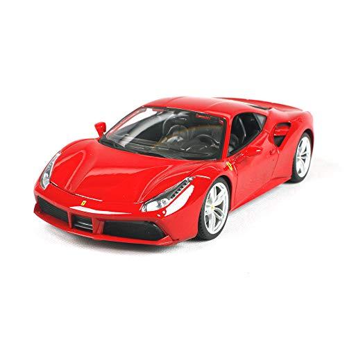 LUCKYCAR Modellauto 1:18 Ferrari 488 GTB Simulation Alu-Automodell,Originalgetreues Modellauto mit Türen und Motorhaube zum Öffnen,Maßstab 1:18, Fertigmodell, 26.5 cm, Rot