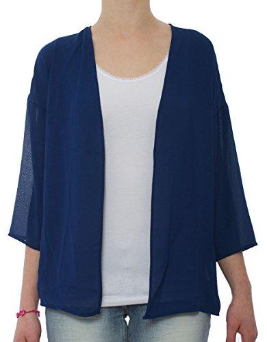 Only Flowe Kimono Mujer, Strickjacke, Azul Blue Depths 36