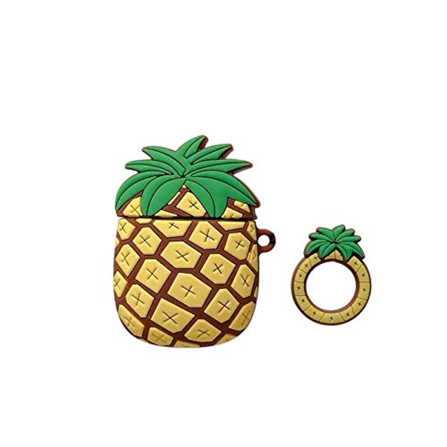 Soft Silicone Pineapple Case Finger Loop for Apple Airpods with Charging Case 1 2 Yellow Green 3D Cartoon Fruit Protector Cute Lovely Luxury Designer High Fashion Fun Girls Boys