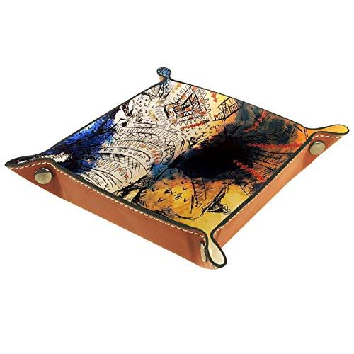 Caja de almacenamiento pequeña, bandeja de valet para hombre,elefante de tinta india,Organizador de cuero para llaves de caja de monedas