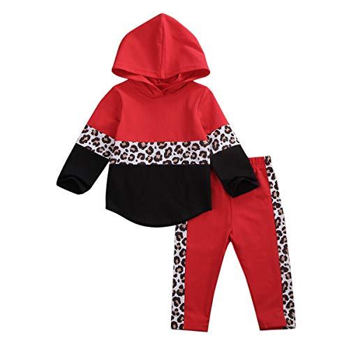 Luipaard Hoodie Tops Broek Trainingspak Peuter Kids Baby Jongen Meisjes Outfits Herfst Lange Mouw Patchwork Pullover Broek 2 Stks Set
