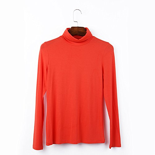 Avsvcb Estación Europea Tallas Grandes de otoño Camiseta de Manga Larga para Mujer Color sólido de Cuello Alto Camisa Modal de Fondo para Mujer Top de otoño