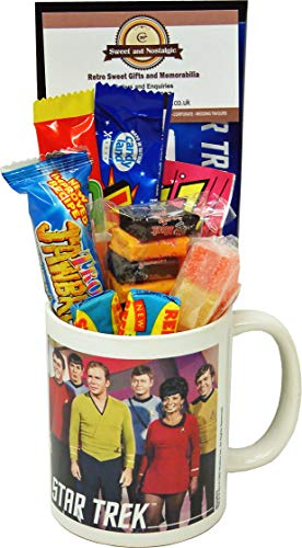 Star Trek Crew Characters Mug filled with 80s Sweets
