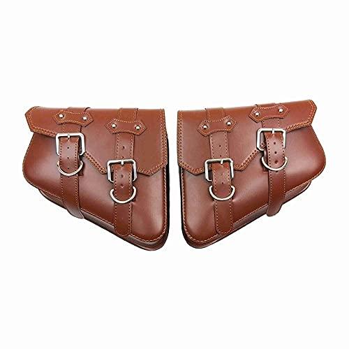HAIHAOYF Bolsas de Montar de Motocicletas de 2 Piezas Negras y Marrones, Bolsa de Herramientas Laterales de Cuero de PU Equipaje para Sportster XL 883 1200 (Color Name : Brown)